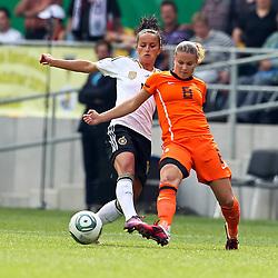 07-06-2011 VOETBAL: DUITSLAND - NEDERLAND: AACHEN<br />  Fatmire Bajramaj (Deutschland, Frankfurt) (L) gegen Sherdia Spitse (Niederlande, Heerenveen) (R)  // during the WM 2012 Friendly Game Germany vs Netherland at Tivoli Aachen <br /> *** NETHERLANDS ONLY ***<br /> ©2011-FotoHoogendoorn.nl/ nph / Mueller