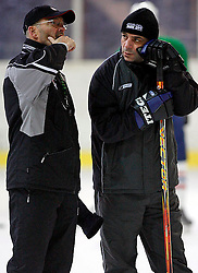 New head coach Mats Waltin talking to assistant coach Matjaz Kopitar at  hockey training of Slovenian national team, on December 12, 2007 in Bled - Ice Arena, Slovenia. (Photo by Vid Ponikvar / Sportal Images)