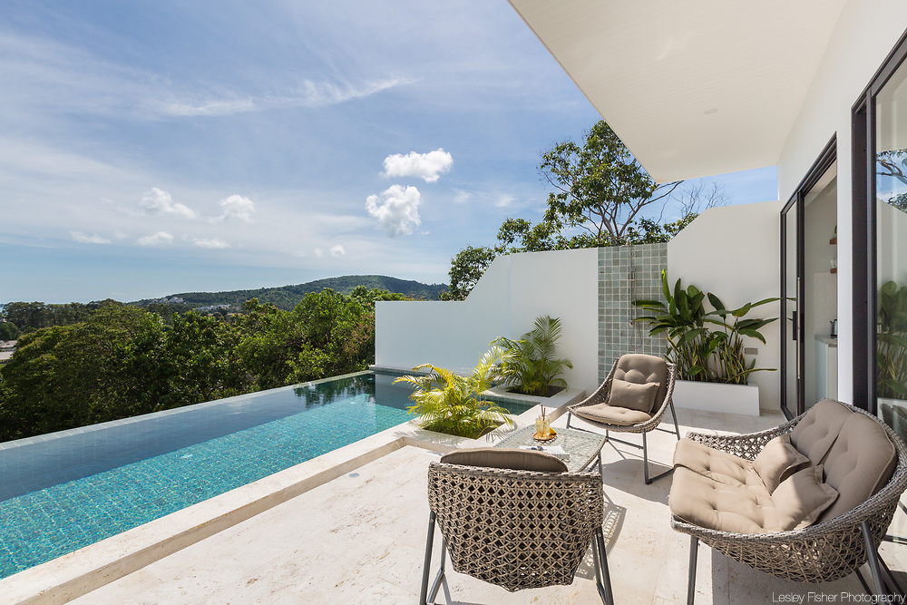 Swimming pool terrace at Villa Casamui, a 3 bedroom ocean view villa located at Ocean 180 Samui estate located in the Bophut Hills, Koh Samui, Thailand