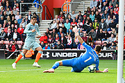 Alvaro Morata (29) of Chelsea shoots at goal and has it saved by Alex McCarthy (1) of Southampton during the Premier League match between Southampton and Chelsea at the St Mary's Stadium, Southampton, England on 7 October 2018.