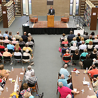 "hundreds of local residents gathered to hear author Richard Grant talk his life living in the Mississippi Delta that inspired the book ""Dispatches from Pluto""."