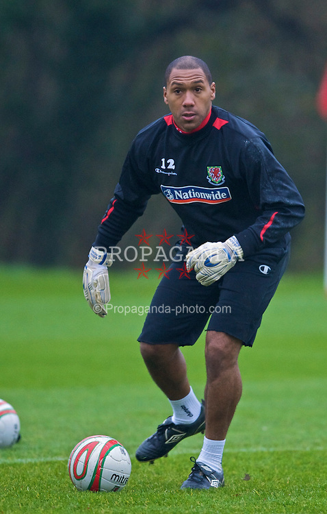 CARDIFF, WALES - Wednesday, November 11, 2009: Wales' goalkeeper Jason Brown during training at the Vale of Glamorgan ahead of the international friendly match against Scotland. (Pic by David Rawcliffe/Propaganda)