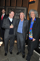 Left to right, STEVE WINWOOD, NICK MASON and BRIAN MAY at the Pig Business Fundraiser, Sake No Hana, St.James's, London on 26th September 2012.
