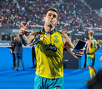 BHUBANESWAR, INDIA - Blake Govers (Aus)  after the match throws his flowers in de stands .  England v Australia (1-8) for the bronze medal during the Odisha World Cup Hockey for men  in the Kalinga Stadion.   COPYRIGHT KOEN SUYK