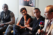 17 September 2010-New York, NY- l to r: Director Qasim Basir, Actress Nia Long, Actor Evan Ross, and Roger Guenveur Smith at the press conference to announce the release of  ' Moozlum the Movie ' held at the Dolby Studios on September 17, 2010 in New York City. ..**exclusive**