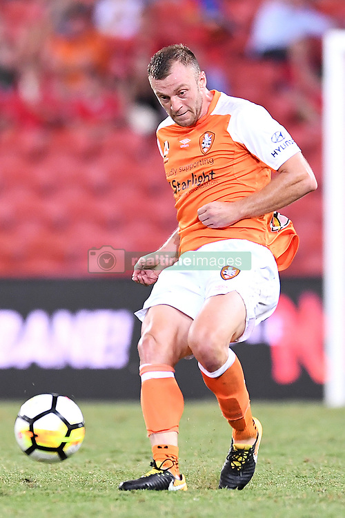 January 18, 2018 - Brisbane, QUEENSLAND, AUSTRALIA - Avraam Papadopoulos of the Roar (#6) passes the ball during the round seventeen Hyundai A-League match between the Brisbane Roar and the Perth Glory at Suncorp Stadium on January 18, 2018 in Brisbane, Australia. (Credit Image: © Albert Perez via ZUMA Wire)