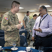 WEDNESDAY, OCTOBER 4- 2017--- - SAN JUAN, PUERTO RICO - <br /> US ARMY Brigadier General Richard Kim, chats with Puerto Rico Health Secretary Rafael Rodriguez Mercado aboard the US Naval Hospital Ship Comfort at the Port of San Juan where it started treating patients affected by Hurricane Maria.<br /> (Photo by Angel Valentin for NPR)