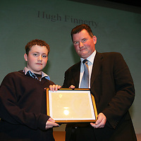 Hugh Finnerty being presenteded with his Young Citizen Award for Environment work in his Local Area by Cllr Pat Hayes, Cathoirleach of Clare County Development Board in Glor<br /> Pic.Brian Gavin/Press 22