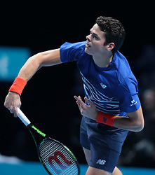November 17, 2016 - London, United Kingdom - Milos Raonic (CAN)(4)  action against Dominic Thiem (AUT)(8) in their  Ivan Lendl Group  match during Day Five  of the Barclays ATP World Tour Finals 2015 played at The O2 Arena, London on November 17th  2016. (Credit Image: © Kieran Galvin/NurPhoto via ZUMA Press)