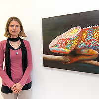 Austrian born Elke Vallaster with her artwork 'Happy Potamus' and 'Time to make a change'