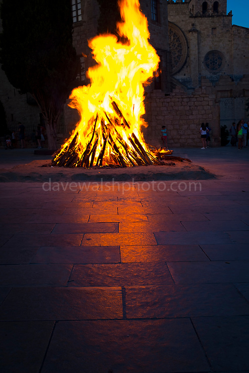 Saint John's Night Celebration 23 June 2019 - The Catalan Festival of Fire. Revetlla de Sant Joan -  Bonfire of Sant Joan - Fogueres de Sant Joan -  Placa Octavia, Sant Cugat