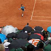 Roger Federer, Switzerland, winning the Men's Singles Final, defeating Robin Soderling, Sweden, at the French Open Tennis Tournament at Roland Garros, Paris, France on Sunday, June 7, 2009. Photo Tim Clayton.