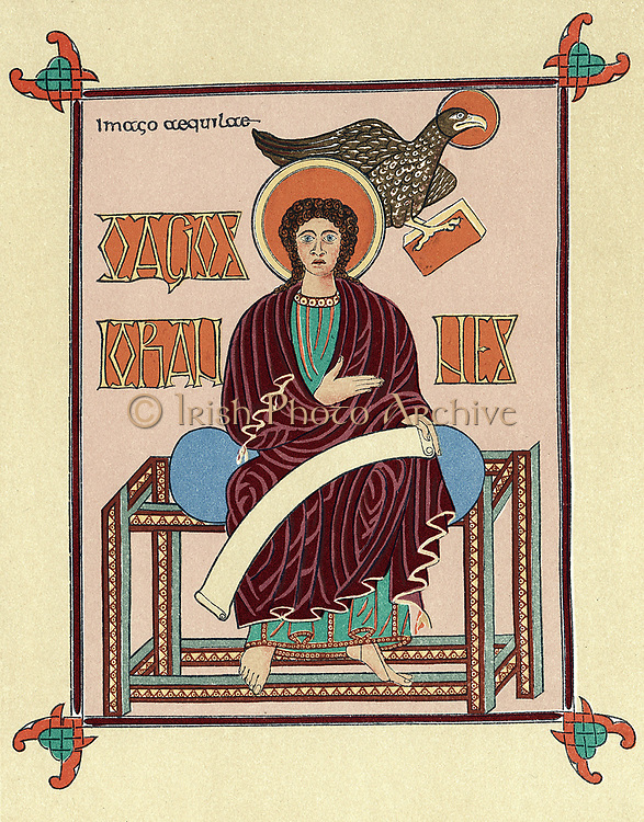 St John the Evangelist from the Lindisfarne (Durham) 'Gospel Book'. Produced at Lindisfarne, England c720, it is St Jerome's Latin version of the four Gospels made in the 4th century and known as the 'Vulgate'.  As well as being a religious text, it is one of the great examples of Celtic art.
