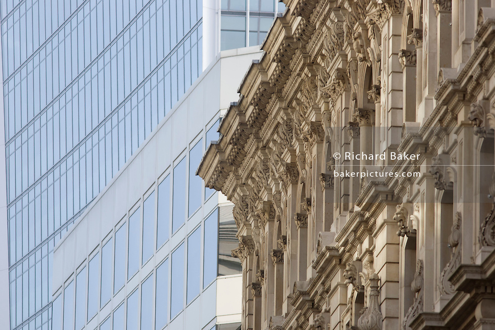Mixed architecture of generic City of London office buildings in Lombard Street in Lombard Street in the heart of the capital's financial district.
