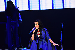November 5, 2016 - Philadelphia, Pennsylvania, United States - Pop star Katy Perry gives her all for the candidate. Hillary Clinton made a campaign stop in Philadelphia's Mann Center for the Performing Arts accompanied by pop star Katy Perry, who sang several of her classic stand-bys, including ''Roar!'' which has been used by the Clinton campaign in their appeals. Prior to the candidate's appearance, the audience heard from Senator Corey Booker, US Representative Bob Brady, Senatorial candidate Katie McGinty and actress Debra Messing. TV producer Shonda Rimes introduced Mrs. Clinton to packed & enthusiastic crowd. (Credit Image: © Andy Katz/Pacific Press via ZUMA Wire)