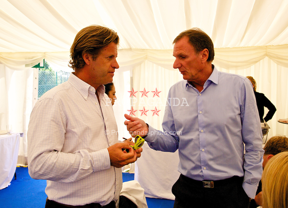 LIVERPOOL, ENGLAND - Sunday, June 22, 2014: Anders Borg and Phil Thompson during Day Four of the Liverpool Hope University International Tennis Tournament at Liverpool Cricket Club. (Pic by David Rawcliffe/Propaganda)