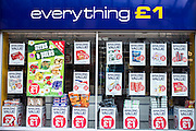 Shop front of a pound shop in Middlesborough town centre, North Yorkshire, United Kingdom.  There has been a dramatic increase in the number of pound shops across Britain, especially in poor and deprived areas.  All stock is priced one pound and offers amazing value.