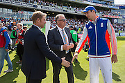 Shane Warne congratulates Steven Finn of England for being man of the match during the 3rd Investec Ashes Test match between England and Australia at Edgbaston, Birmingham, United Kingdom on 31 July 2015. Photo by Phil Duncan.