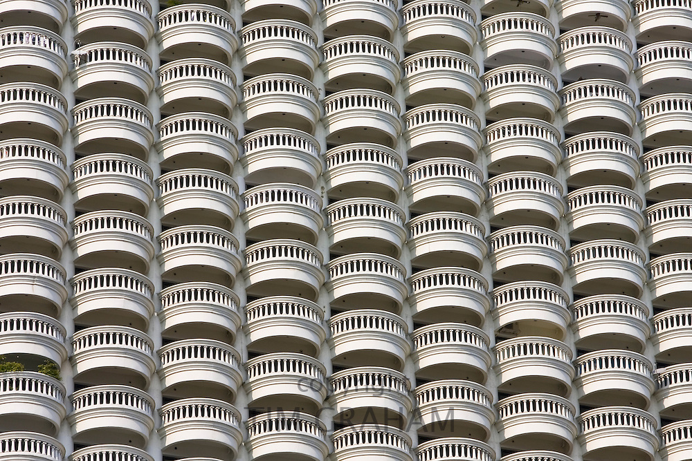 Balconies of a Bangkok apartment block, Thailand