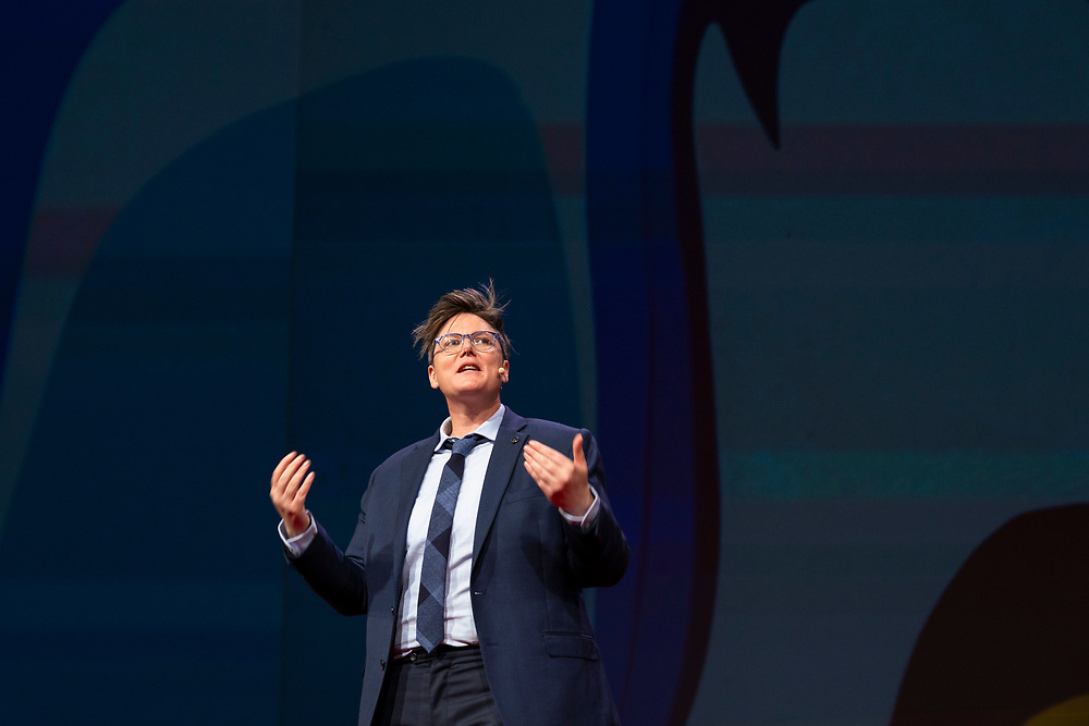 Hannah Gadsby speaks at TED2019: Bigger Than Us. April 15 - 19, 2019, Vancouver, BC, Canada. Photo: Bret Hartman / TED