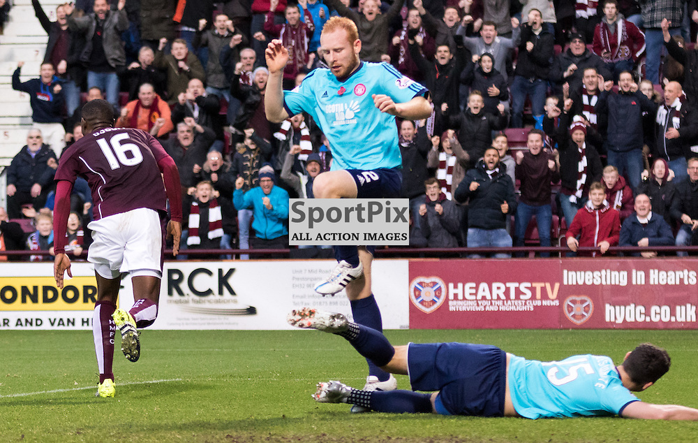 Heart of Midlothian's Arnaud Djoum celebrates doubling Hearts lead in the Hearts vs Hamilton Academical Scottish Premiership 7th November 2015......(c) MARK INGRAM | SportPix.org.uk