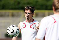 Photo: Chris Ratcliffe.<br />England training session. 07/06/2006.<br />Gary Neville controls the ball during training.