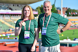 F38 Discus European Champion Noelle Lenihan, IRE with her coach David Sweeney  at the Berlin 2018 World Para Athletics European Championships