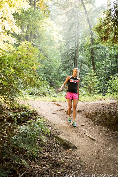 Ultrarunner Stephanie Howe in the Redwood Regional Park in Oakland, CA