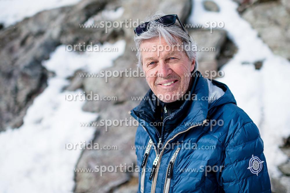 15.03.2016, Engiadina, St. Moritz, SUI, FIS Weltcup Ski Alpin, St. Moritz, Abfahrt, Herren, 1. Training, im Bild Bernhard Russi fotografiert w&auml;hrend der Medien Besichtigung des Freefall Starts. // during 1st training run for the men's Downhill of St. Moritz Ski Alpine World Cup finals at the Engiadina in St. Moritz, Switzerland on 2016/03/15. EXPA Pictures &copy; 2016, PhotoCredit: EXPA/ Freshfocus/ Manuel Lopez<br /> <br /> *****ATTENTION - for AUT, SLO, CRO, SRB, BIH, MAZ only*****