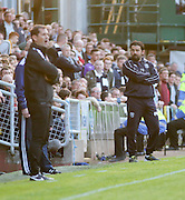 Dundee United boss Jackie McNamara and Dundee manager Paul Hartley - Dundee United v Dundee at Tannadice<br /> - Ladbrokes Premiership<br /> <br />  - © David Young - www.davidyoungphoto.co.uk - email: davidyoungphoto@gmail.com