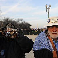 Hazel and Ken Murray from San Benito, Texas arrive at the reflecting pool at the Capital for the swearing in of Barack Obama as the 44th President of the United States of America during his Inauguration Ceremony on Capitol Hill in Washington on January 20, 2009.    (Mark Goldman/ Goldmine Photos)