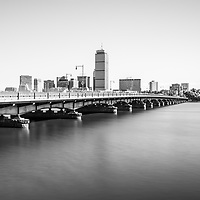 Harvard Bridge and Boston skyline black and white photo. Includes Boston Back Bay, Charles River, John Hancock Tower, and Prudential Tower. Boston Massachusetts is a major city in the Eastern United States of America.