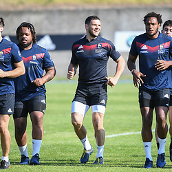 Hugo Bonneval, Mathieu Bastareaud, Remy Grosso and Benjamin Fall of France during the French Rugby Training Session on May 9, 2018 in Marcoussis, France. (Photo by Anthony Dibon/Icon Sport)
