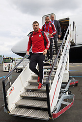 LILLE, FRANCE - Wednesday, June 15, 2016: Wales' Sam Vokes arrives in at Lille Lesquin International Airport as for their Group Stage MD 2 game of the UEFA Euro 2016 Championship against England. (Pic by David Rawcliffe/Propaganda)