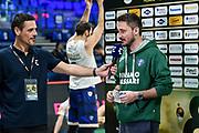Andrea Solaini, Gianmarco Pozzecco<br /> Banco di Sardegna Dinamo Sassari - Happycasa Brindisi<br /> Quarti di finale<br /> LBA Legabasket Serie A Final 8 Coppa Italia 2019-2020<br /> Pesaro, 14/02/2020<br /> Foto L.Canu / Ciamillo-Castoria