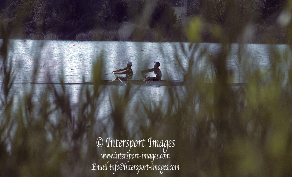 Barcelona, SPAIN.   General View of a crew training on the lake, 1992 Olympic Rowing Regatta Lake Banyoles, Catalonia [Mandatory Credit Peter Spurrier/ Intersport Images]