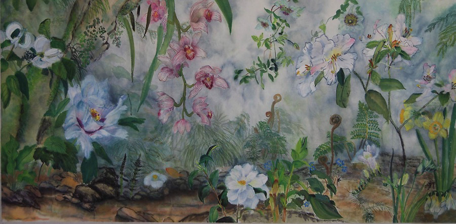 "Sumi-ink and watercolor on rice paper, 27 x 52""<br>Created for a formal living room in a private residence, an imagined garden scene of flowers and ferns next to a sheltering rock. Comments about fairies are often heard from viewers."