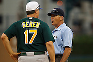 May 31, 2010: Oakland Athletics'Manager Bob Geren #17 and first base umpire John Hirschbeck during the MLB baseball game between the Oakland Athletics and Detroit Tigers at  Comerica Park in Detroit, Michigan. Oakland defeated Detroit 4-1.