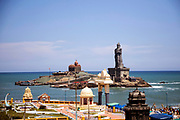 KANYAKUMARI, INDIA - 2nd October 2019 - The view from the top of the Gandhi Memorial Mandapam with the Vivekananda Rock Memorial and the Thiruvalluvar Statue in view.