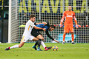Roberto Gagliardini of Inter vies with Kevin Strootman of AS Roma during the Italian championship Serie A football match between FC Internazionale and AS Roma on January 21, 2018 at Giuseppe Meazza stadium in Milan, Italy - Photo Morgese - Rossini / ProSportsImages / DPPI