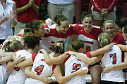 19 AUG 2006 Redbirds huddle up before the introductions at the beginning of the match. Northern Illinois Huskies got slammed by Illinois State Redbirds, losing the match 3 games to 1. Game action took place at Redbird Arena on the campus of Illinois State University in Normal Illinois.