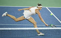 WUHAN, Sept. 29, 2018  Aryna Sabalenka of Belarus returns a shot during the singles final match against Anett Kontaveit of Estonia at the 2018 WTA Wuhan Open tennis tournament in Wuhan, central China's Hubei Province, on Sept. 29, 2018. Aryna Sabalenka won 2-0 and claimed the title. (Credit Image: © Xue Yubin/Xinhua via ZUMA Wire)