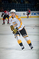 KELOWNA, CANADA - OCTOBER 25: Tim McGauley #23 of Brandon Wheat Kings warms up against the Kelowna Rockets on October 25, 2014 at Prospera Place in Kelowna, British Columbia, Canada.  (Photo by Marissa Baecker/Getty Images)  *** Local Caption *** Tim McGauley;