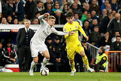 01.03.2015, Estadio Santiago Bernabeu, Madrid, ESP, Primera Division, Real Madrid vs FC Villarreal, 25. Runde, im Bild Toni Kroos of Real Madrid and Trigueiros of Villarreal // during the Spanish Primera Division 25th round match between Real Madrid CF and Villarreal at the Estadio Santiago Bernabeu in Madrid, Spain on 2015/03/01. EXPA Pictures © 2015, PhotoCredit: EXPA/ Alterphotos/ Caro Marin<br /> <br /> *****ATTENTION - OUT of ESP, SUI*****