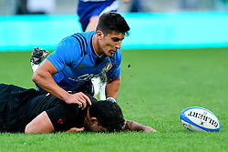 November 12, 2016 - Rome, Italy - Tommaso Allan of Italy challenges Codie Taylor of New Zealand  during the International Match between Italy and New Zealand at Stadio Olimpico, Rome, Italy on 12 November 2016. Photo by Giuseppe Maffia. (Credit Image: © Giuseppe Maffia/NurPhoto via ZUMA Press)