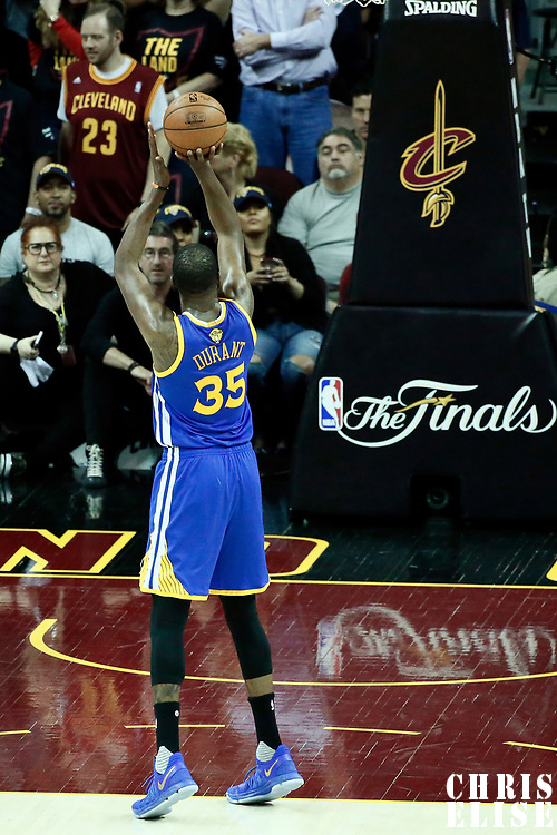07 June 2017: Golden State Warriors forward Kevin Durant (35) is seen at the free throw line during the Golden State Warriors 118-113 victory over the Cleveland Cavaliers, in game 3 of the 2017 NBA Finals, at  the Quicken Loans Arena, Cleveland, Ohio, USA.