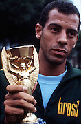Brazil captian Carlos Alberto with the coveted Jules Rimet trophy after Brazil's 4-1 victory over Italy. Mexico City, Mexico, 22nd June 1970.