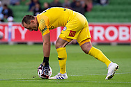 MELBOURNE, AUSTRALIA - APRIL 13: Melbourne City goalkeeper Eugene Galekovic (18) prepares for a kick during round 25 of the Hyundai A-League soccer match between Melbourne City FC and Adelaide United on April 13, 2019 at AAMI Park in Melbourne, Australia. (Photo by Speed Media/Icon Sportswire)