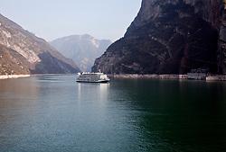 Cruise ship on the Yangtze River near the Three Gorges Dam, China.