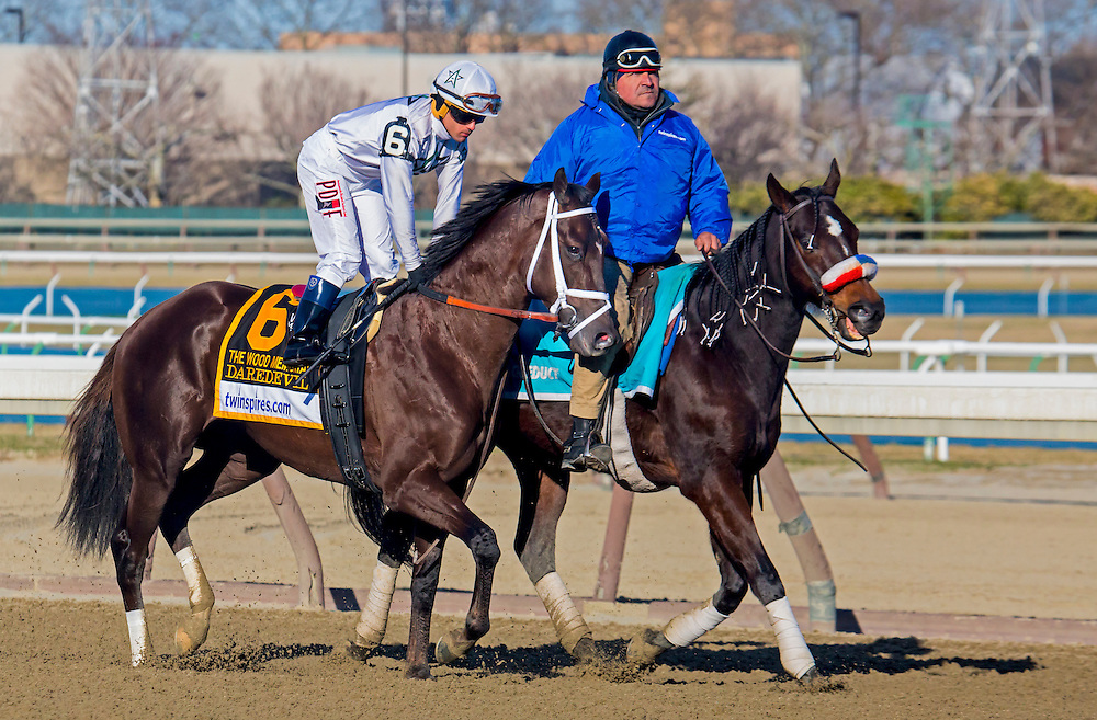 """(4) This is a Series of 11 photos, beginning with the post parade culminating with the stretch drive for the 2015 Wood Memorial. The race was won by """"Frosted"""", number 4, a grey horse with jockey Joel Rosario aboard in blue silks."""
